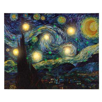 "12 in. x 16 in.""Starry Night"" LED Lighted Canvas Art"