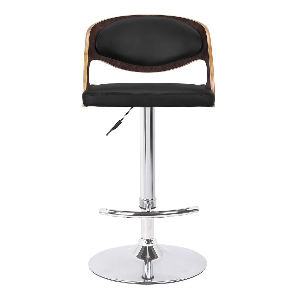 Armen Living Malibu Swivel 37 In To 46 Black Faux Leather Barstool With