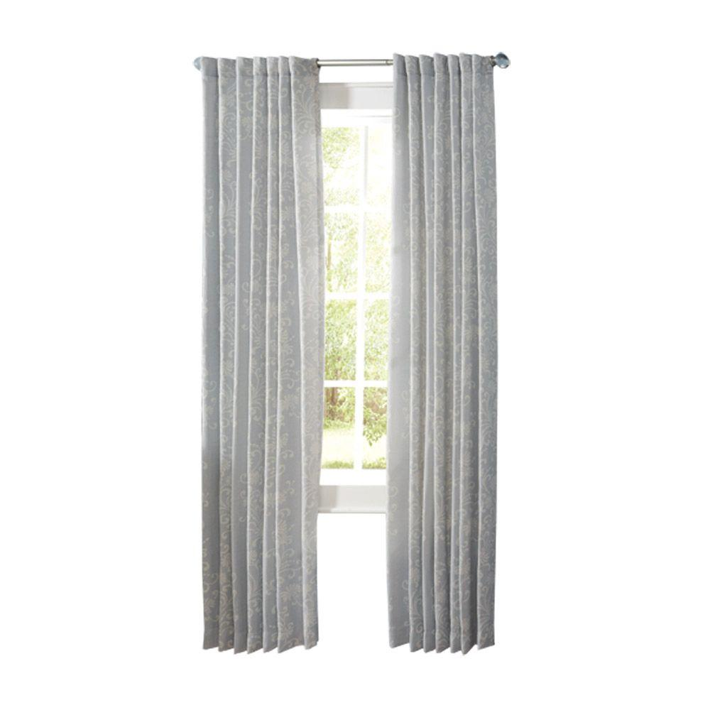 Martha Stewart Living Semi-Opaque Faded Ink Floral Scroll Back Tab Curtain (Price Varies by Size)