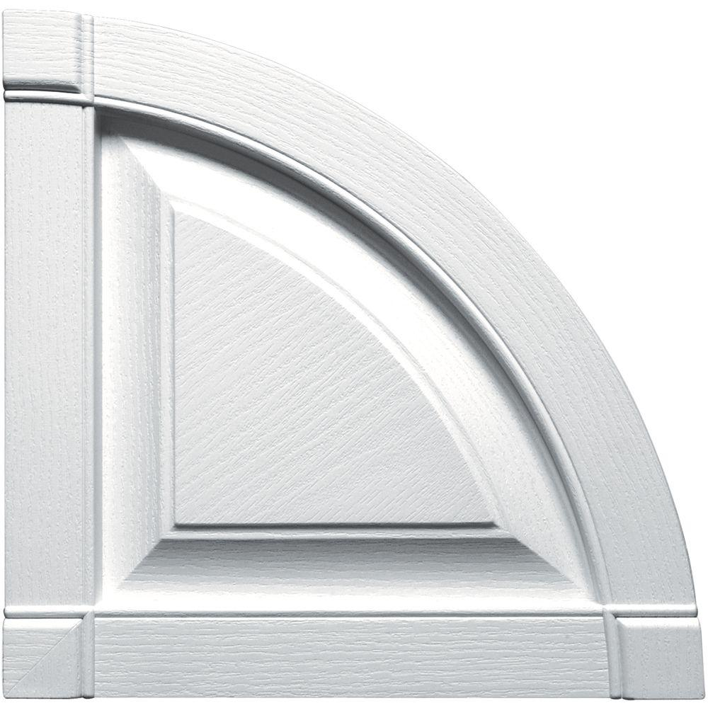 Builders Edge 15 in. x 15 in. Raised Panel Design White Quarter Round Tops Pair #001