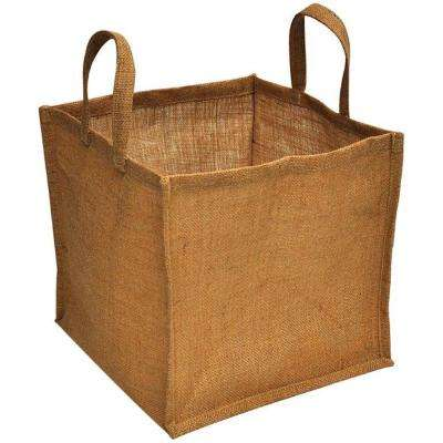 12 in. x 12 in. x 11 in. Natural Burlap Small Portable Garden Bag with Handles
