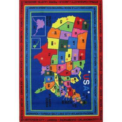 Fun Time State Capitals Multi Colored 8 ft. x 11 ft. Area Rug