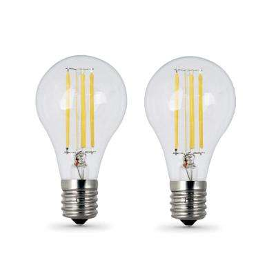 60W Equivalent (2700K) A15 Intermediate Dimmable Filament Clear Glass LED Ceiling Fan Light Bulb, Soft White (2-Pack)