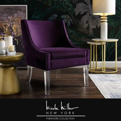 Terrance Purple Velvet Accent Chair with Upholstered Armless