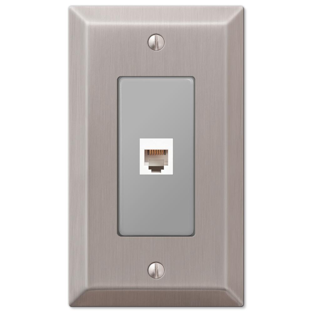 Metallic 1 Gang Phone Steel Wall Plate - Brushed Nickel
