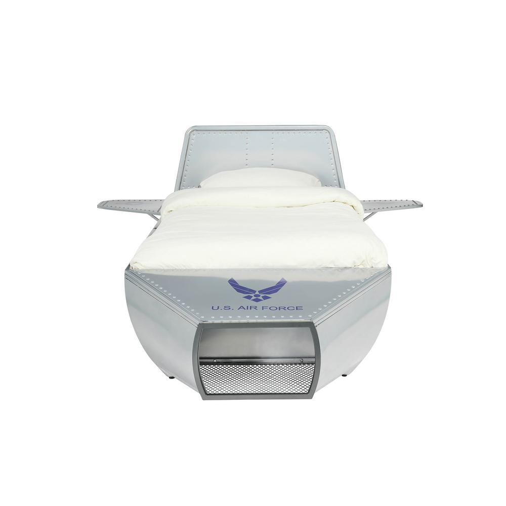 Aeronautic Silver Twin Storage Bed