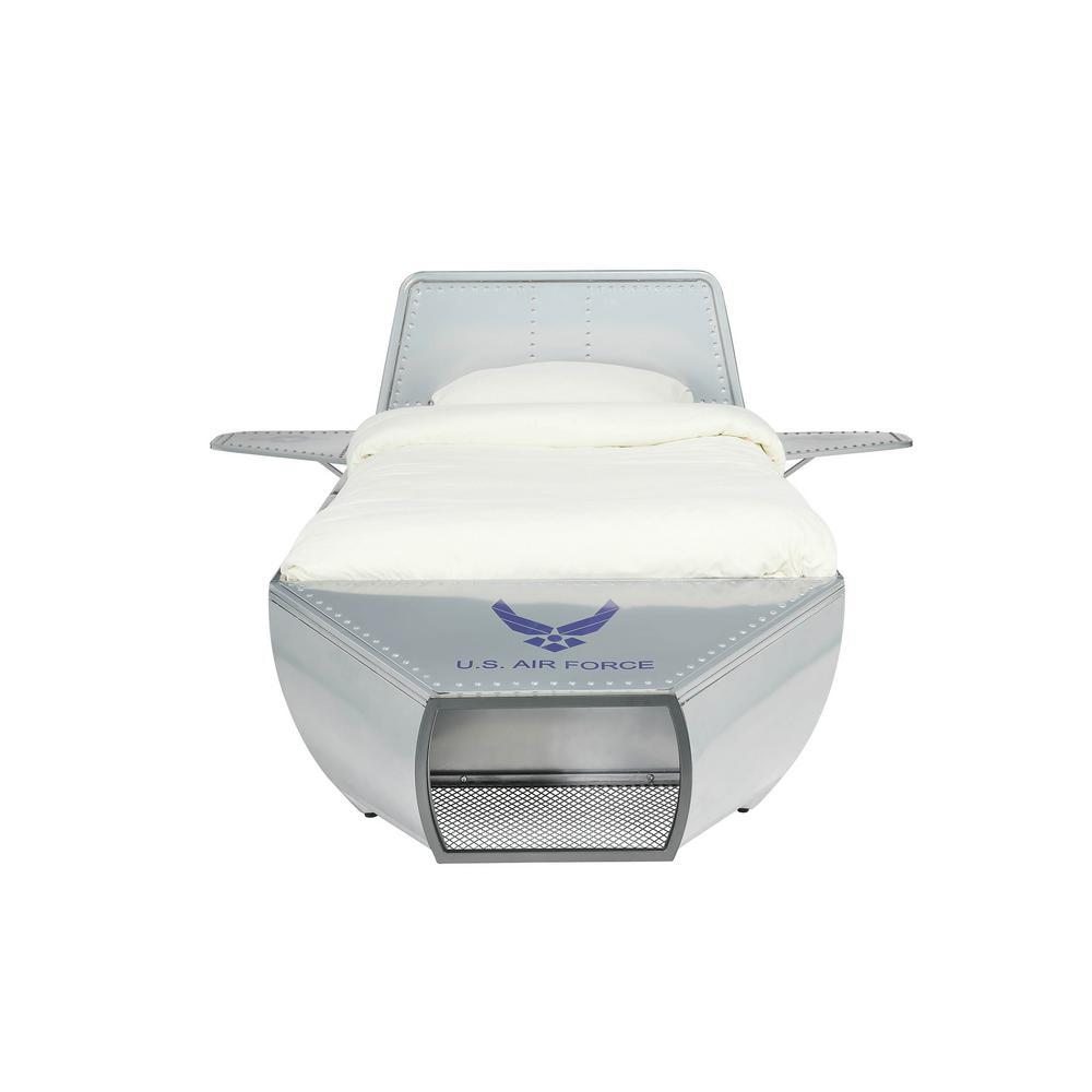 Aeronautic Silver Twin Storage Bed