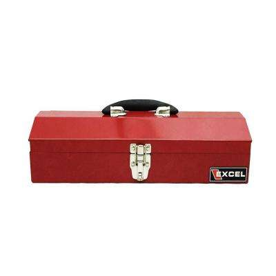 16.1 in. W x 6.1 in. D x 3.7 in. H Portable Steel Tool Box, Red