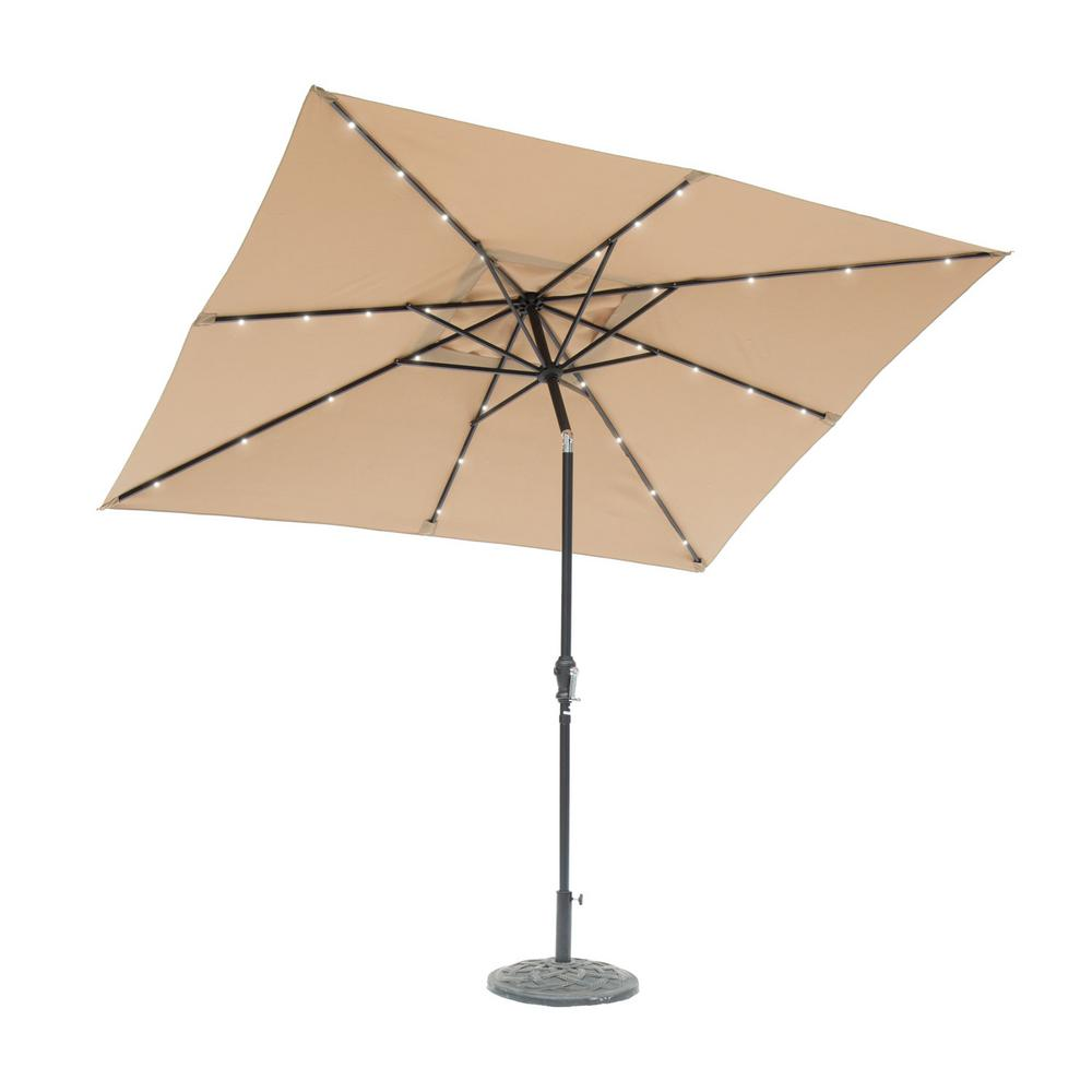 SunRay 9 Ft. X 7 Ft. Rectangular Solar Lighted Market Patio Umbrella In  Taupe