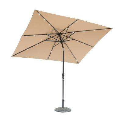 9 ft. x 7 ft. Rectangular Solar Lighted Market Patio Umbrella in Taupe