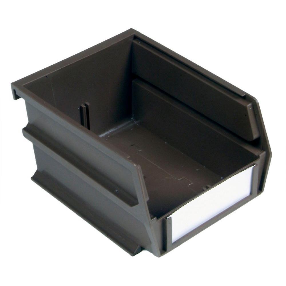 9 in. 0.301 Gal. Stacking Hanging Interlocking Polypropylene Storage Bin in Brown (24-Pack)