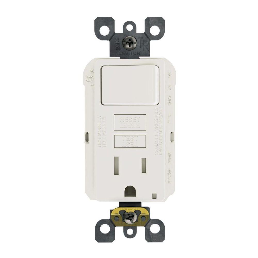 Leviton 15 Amp 125 Volt Combo Self Test Tamper Resistant Gfci Outlet And Switch White