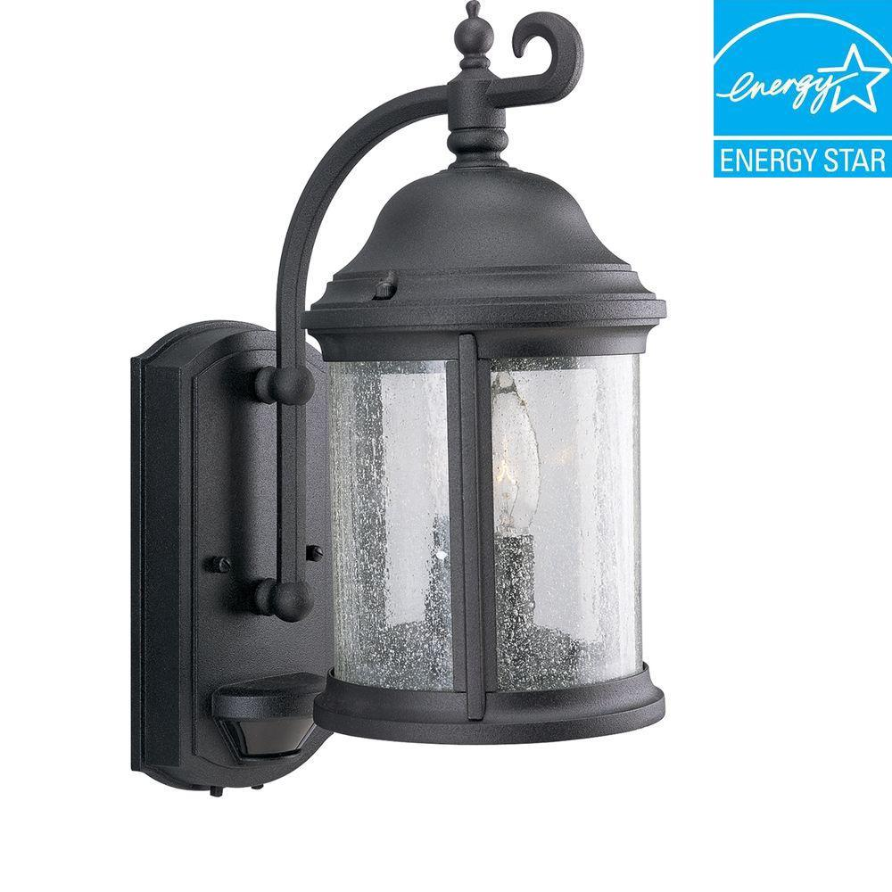 Ashmore Collection 2-Light Textured Black Outdoor Wall Lantern