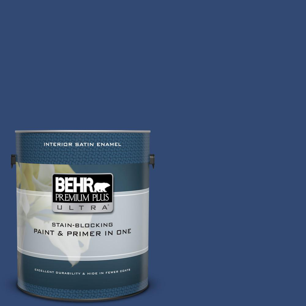 BEHR Premium Plus Ultra 1 gal. #S-H-580 Navy Blue Satin Enamel Interior Paint and Primer in One