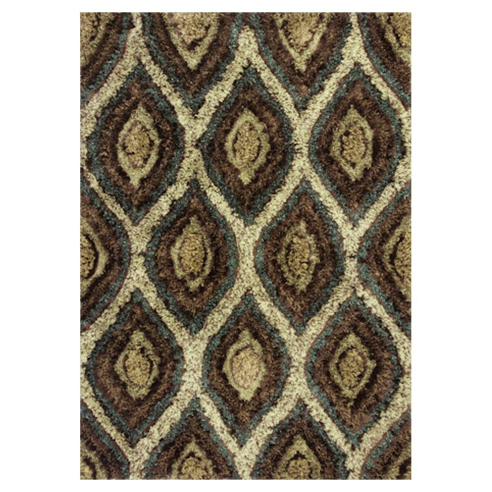 Kas Rugs Shag Finesse 11 Mocha/Cream 7 ft. 6 in. x 9 ft. 6 in. Area Rug