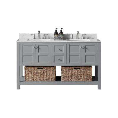 Makena 60 in. W x 22 in. D x 34.2 in. H Bath Vanity in Taupe Grey with Marble Vanity Top in White with White Basin