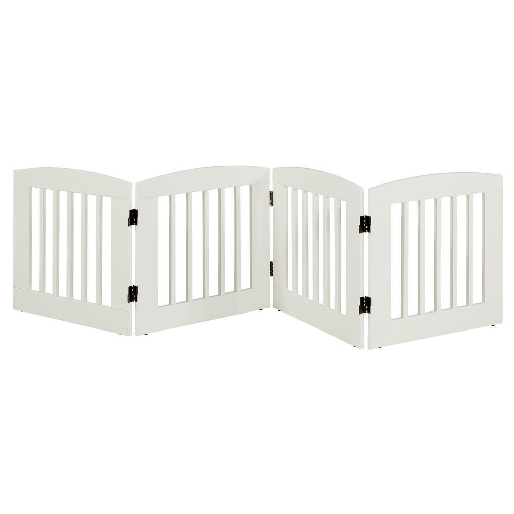 Camaflexi Ruffluv 24 in. H Wood 4-Panel Expansion White Pet Gate