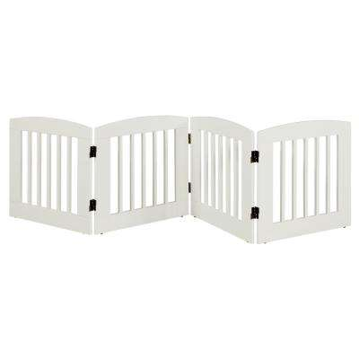 Ruffluv 24 in. H Wood 4-Panel Expansion White Pet Gate