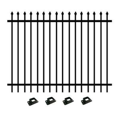 5 ft. H x 6.5 ft. W - Pre-Galvanized Steel, Pressed Top/Picket Bottom Style Fence Panel Kit, Garden Fence