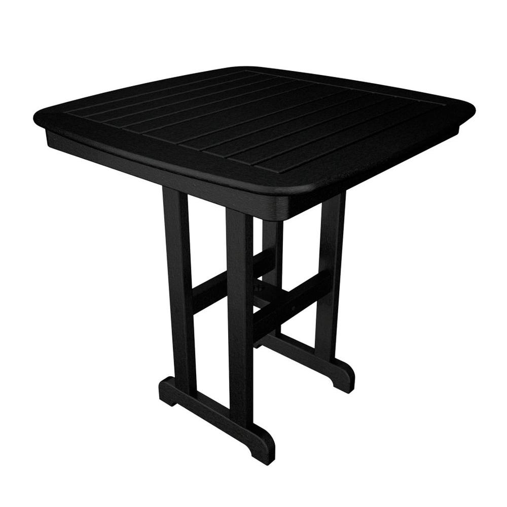 Nautical 37 in. Black Plastic Outdoor Patio Counter Table