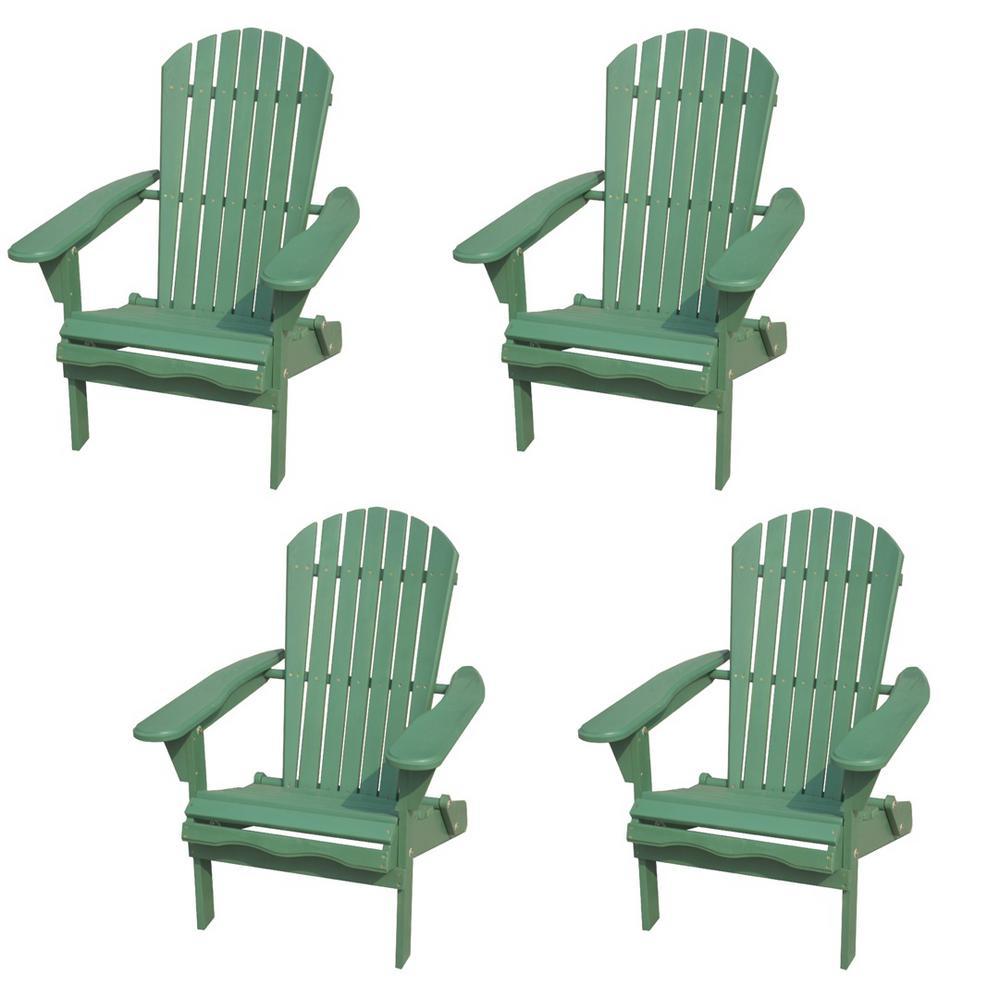 Classic Sea Green Folding Wood Adirondack Chair (4-Pack)
