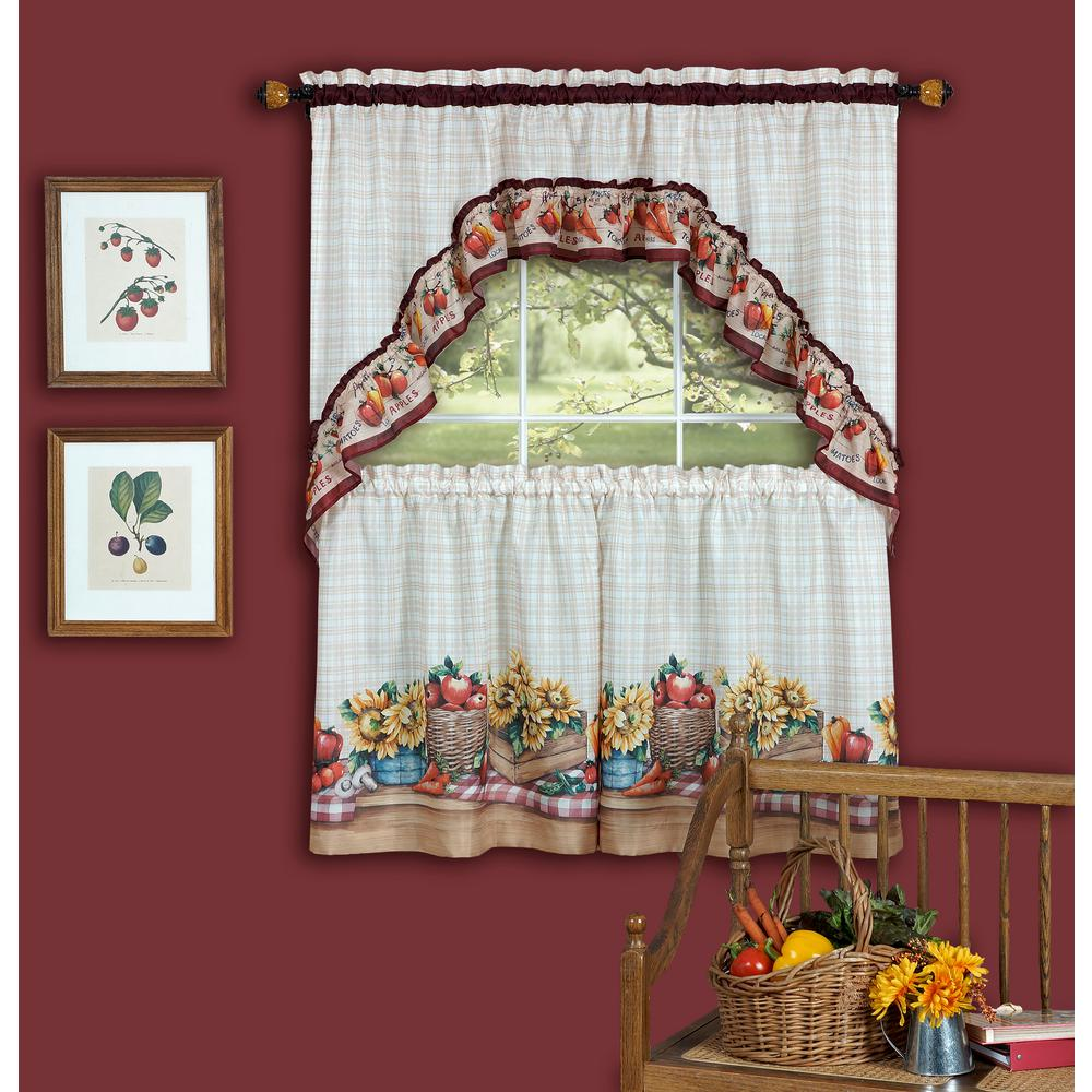 Achim Sheer Farmer S Market Multi Colored Printed Tier And Swag Window Curtain Set 57
