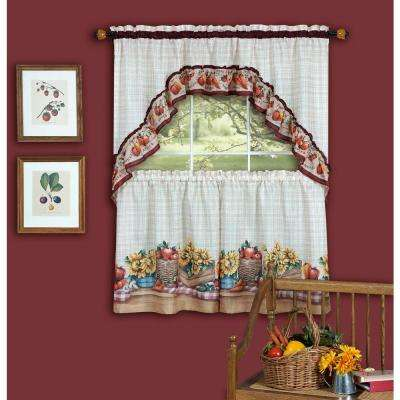Sheer Farmer's Market Multi-colored Printed Tier and Swag Window Curtain Set - 57 in. W x 36 in. L