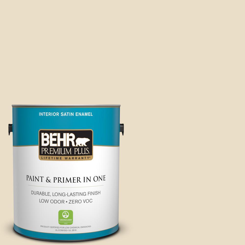 BEHR Premium Plus 1-gal. #710C-2 Raffia Cream Zero VOC Satin Enamel Interior Paint