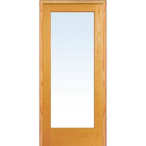 36 in. x 80 in. Left Handed Unfinished Pine Wood Clear Glass Full Lite Single Prehung Interior Door
