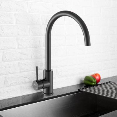 Single-Handle Standard Kitchen Faucet with Ceramic Valve in Matte Black