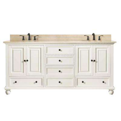 Thompson 73 in. W x 22 in. D x 35 in. H Vanity in French White with Marble Vanity Top in Galala Beige with Basin
