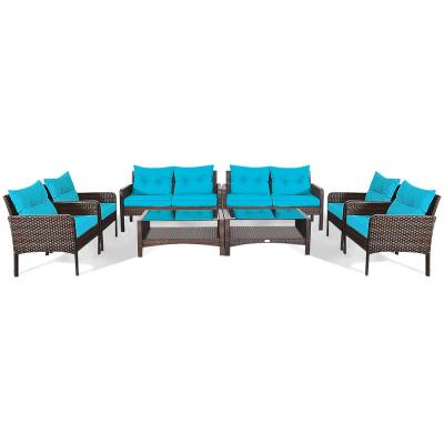 8-piece Metal Wicker Outdoor Loveseat with CushionGuard Turquoise Cushion