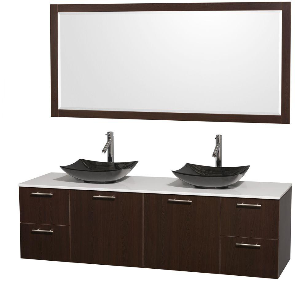 Wyndham Collection Amare 72 in. Double Vanity in Espresso with Solid-Surface Vanity Top in White, Granite Sinks and 70 in. Mirror