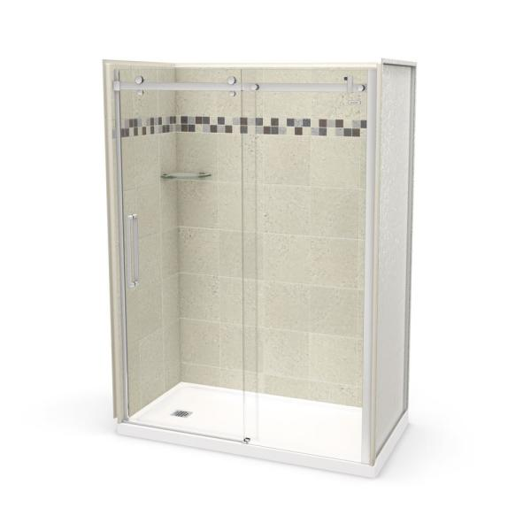 Utile Stone 32 in. x 60 in. x 83.5 in. Left Drain Alcove Shower Kit in Sahara with Chrome Shower Door