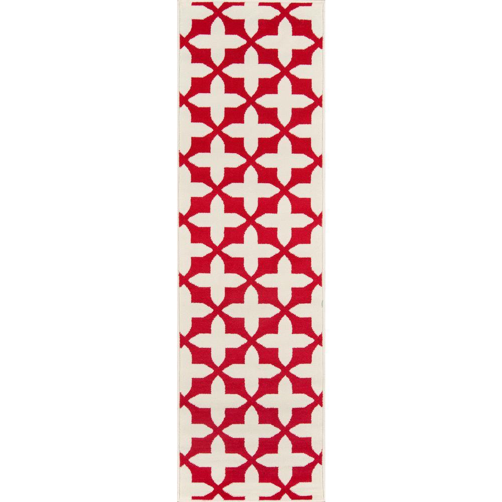 Baja Crisscross Red 2 ft. 3 in. x 7 ft. 6 in. Indoor/Outdoor Runner Rug