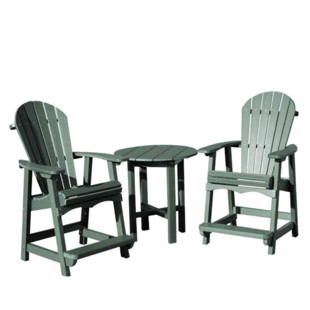 Vifah Roch Recycled Plastics 3-Piece Patio Cafe Seating Set in Green-DISCONTINUED