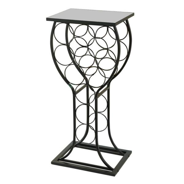 Kings Brand Furniture 11 Bottle Black Metal With Marble Finish Top