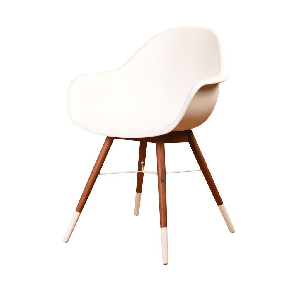 Chamonix Mid Century White Patio Dining Chairs (Set of 4)