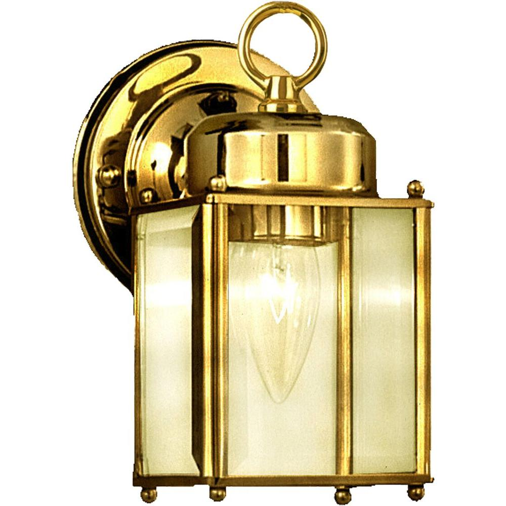 Side Door 1-Light Polished Brass Outdoor Wall Mount