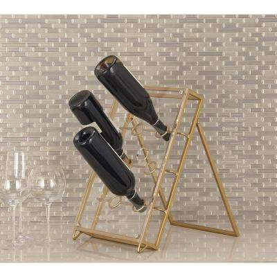 11 in. x 15 in. x 17 in. Gold-Finished Iron and Acrylic 6-Bottle Wine Holder