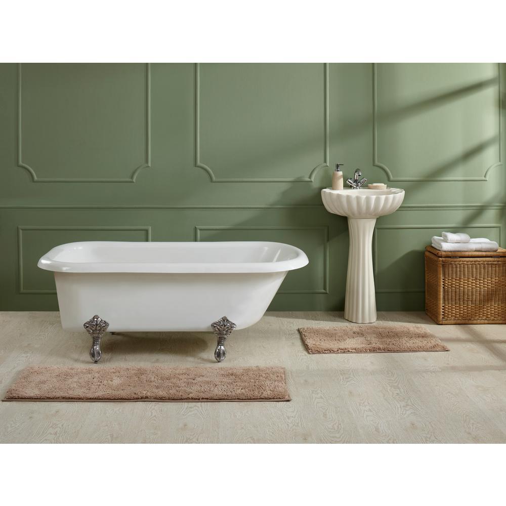 Solid Plush Memory Blue 18 in. x 54 in. Foam Bathmat