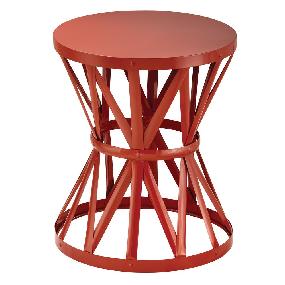 Hampton Bay 18.9 in. Round Metal Garden Stool in Chili