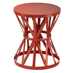 18.9 in. Round Metal Garden Stool in Chili