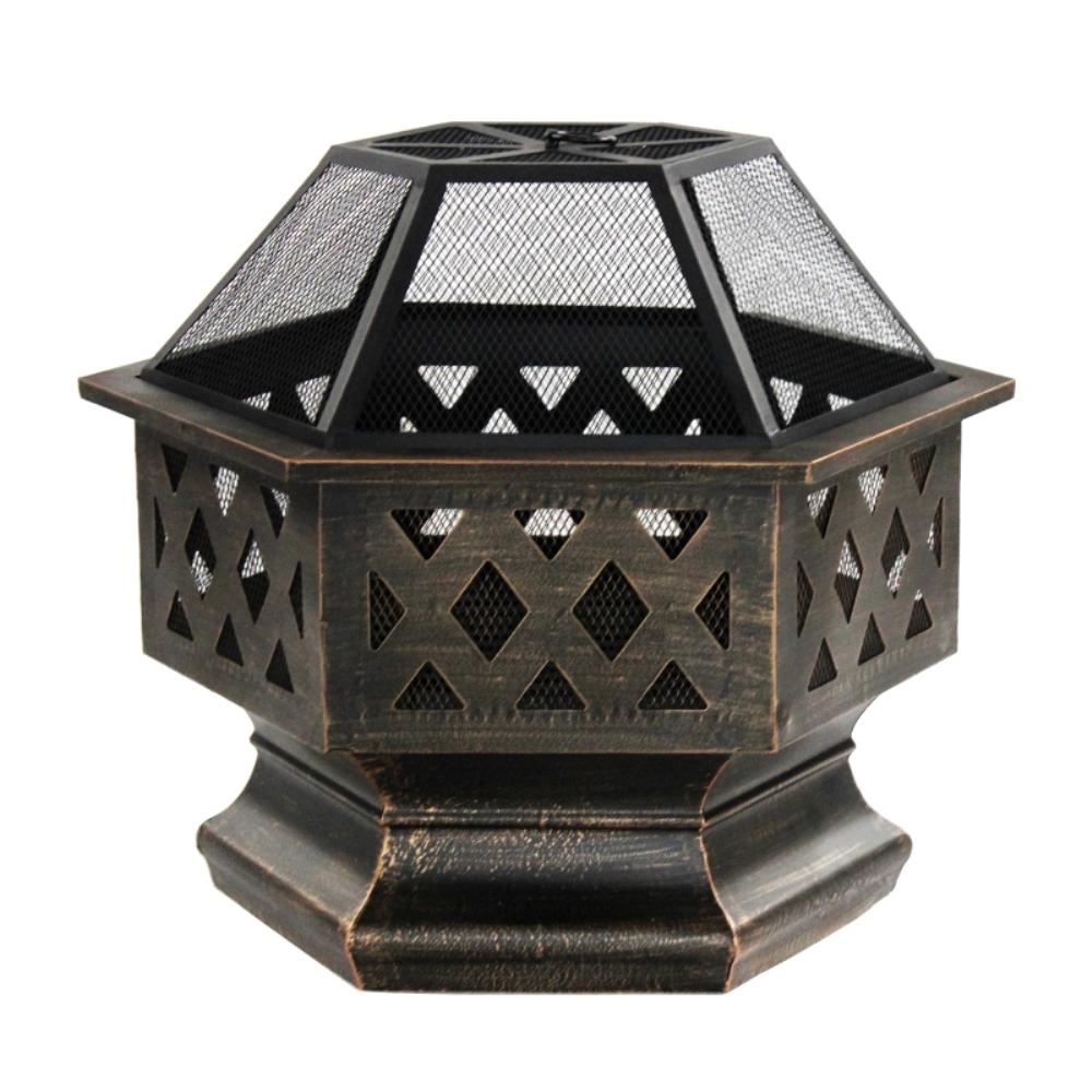 24 in. x 25 in. Round Wood and Coal Steel Fire