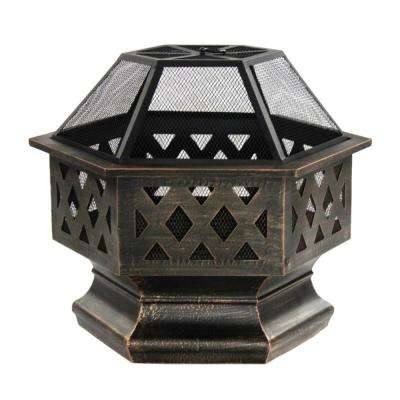 24 in. x 25 in. Hexagon Wood and Coal Steel Fire Pit with Log Grate and Flame Retardant Lid