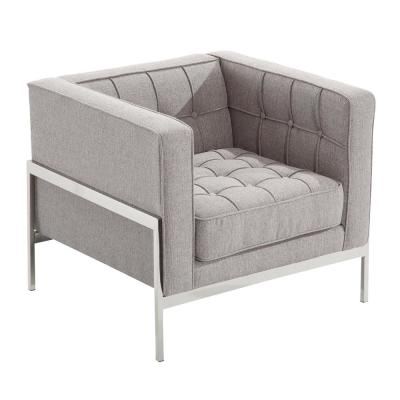 Andre Gray In Tweed and Stainless Steel Contemporary Side Chair