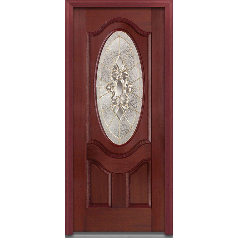 MMI Door 36 in. x 80 in. Heirloom Master Left-Hand 3/4 Oval Lite Decorative Stained Fiberglass Mahogany Prehung Front Door