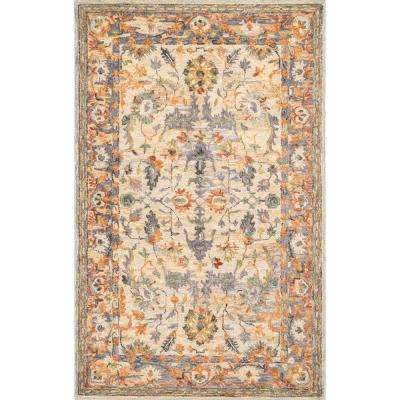 Vintage Floral Mooney Beige 6 ft. x 9 ft. Area Rug