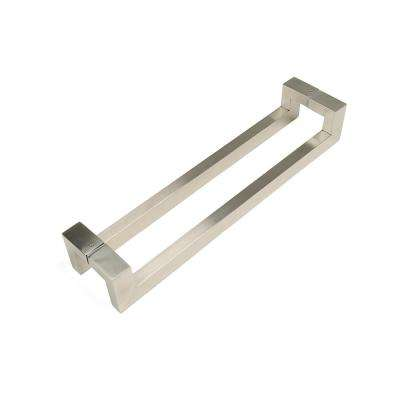 24 in. Rectangular Offset 1.5 in. x 1 in. Brushed Satin Stainless Steel Door Pull Handleset for Easy Installation