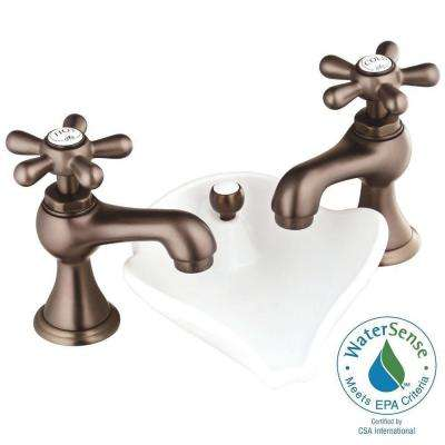 6100 Series 8 in. Widespread 2-Handle Low-Arc Bathroom Faucet in Oil Rubbed Bronze with Pop-Up Drain
